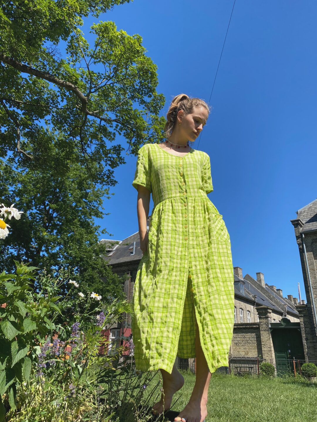 Green checks buttons summer dress
