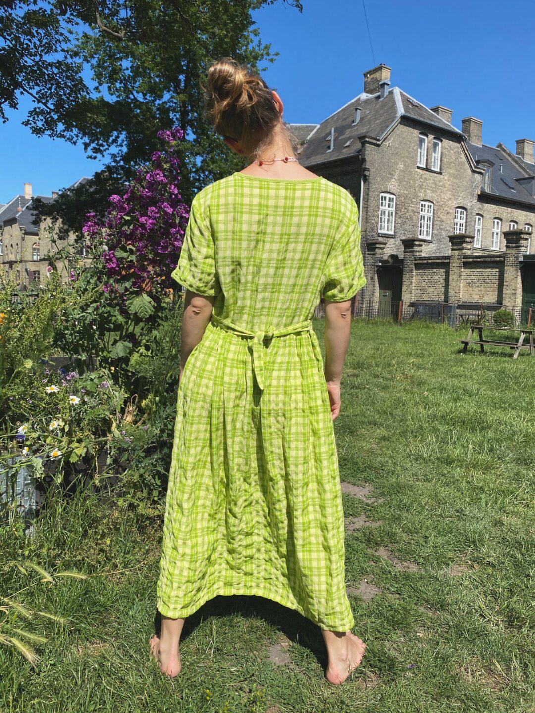Green checks buttons summer dress