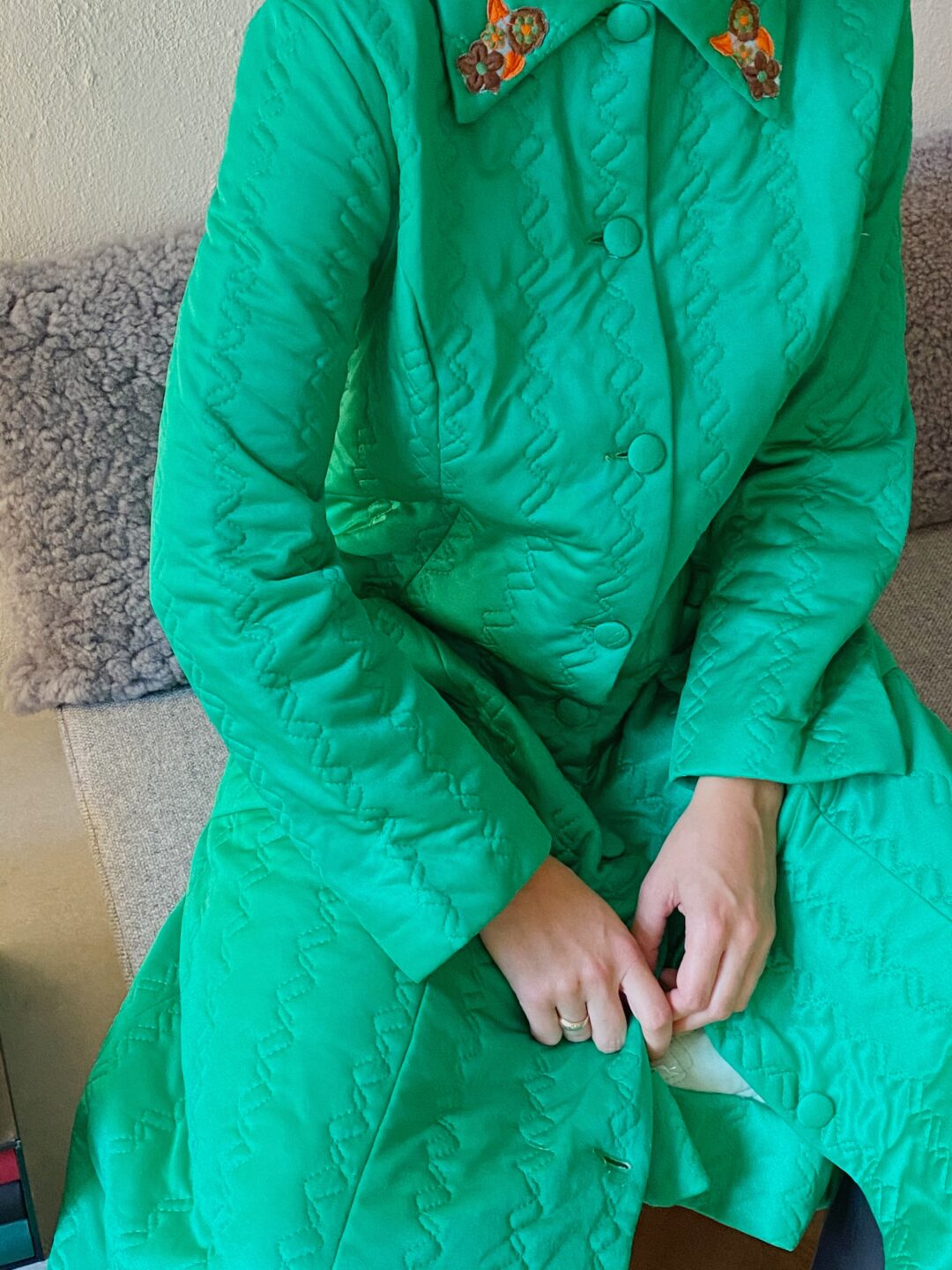 green collect23 coat
